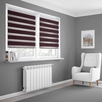 Dark Purple Day and Night Blinds Made To Measure in Rose Taupe